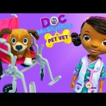 Doc McStuffins Pet Vet Findo Gets Wheel Chair at Popo Ambulance Hospital with Baby Alive Lucy