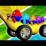 Banana Car Giant Slide 3D Playground | Surprise Eggs Learn Colors Finger Nursery Rhymes Compilation