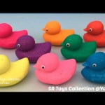 Learn Colours with Glitter Play Doh Ducks Surprise Toys Masha Mickey Mouse Pikachu with Cars Molds