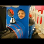 Indoor playground fun for kids with Santa Claus train.  Video from KIDS TOYS CHANNEL