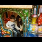 Indoor playground fun for kids. Train ride
