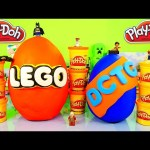 GIANT Play Doh Lego Surprise Egg Toys 10 Legos Minifigures Packs DCTC Playdough Eggs Videos