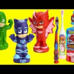 PJ Masks Brush Teeth Catboy, Owlette, Gekko with Paw Patrol Skye and Surprises