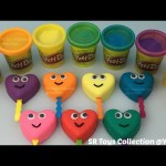Play Doh Sparkle Lollipops Smiley Hearts with Penguins Molds