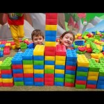 Indoor playground fun for kids with mega blocks and motorcycle. Video from KIDS TOYS CHANNEL