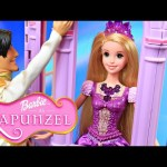Barbie Rapunzel Tower with Disney Princess Tangled Dolls vintage color changing playset toy review
