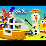 NEW Jake and The NeverLand Pirates Submarine Play Doh Spongebob Squarepants Frozen Boat Toys Review