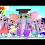 Five Little Elephants | Junior Squad Cartoons | Songs for Babies & Kids Rhymes – Kids TV