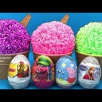 Play Foam Ice Cream Surprise Toys Iron Man Trolls Peppa Pig Disney Frozen Hello Kitty Woody Pikachu