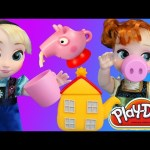 Elsa & Anna Dolls Have a Play Doh Peppa Pig Tea Party With Cookies Kids Toys