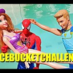 Ice Bucket Challenge Fail with Rapunzel and Barbie Ken Merman Doll Kids Toys