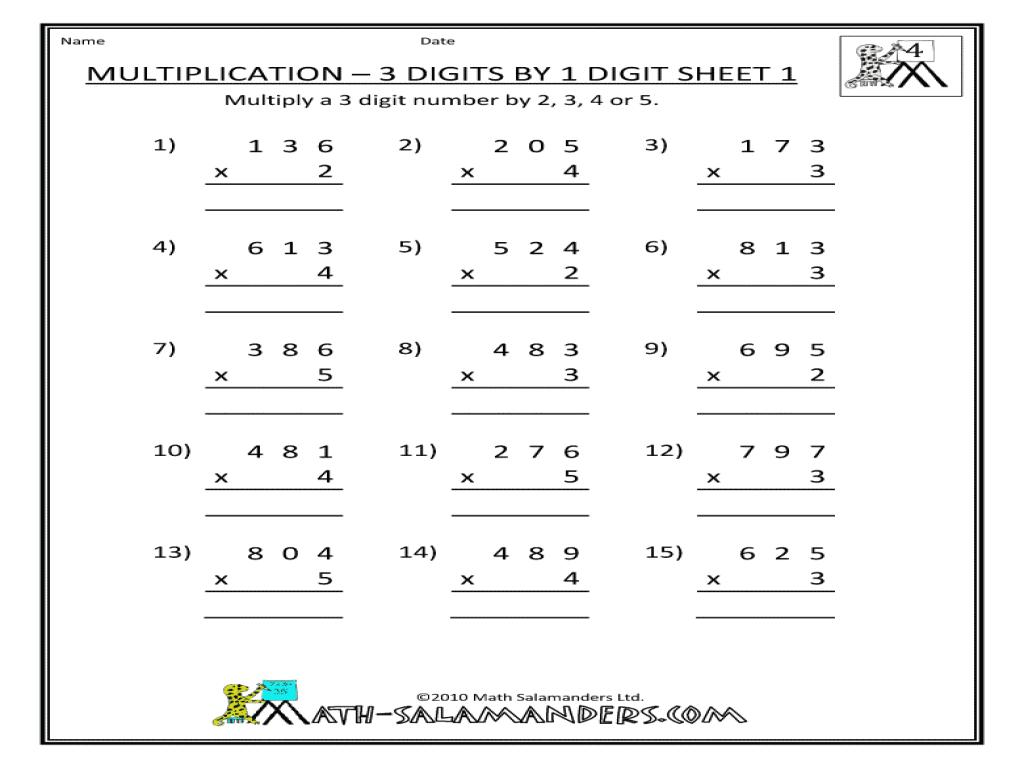 Multiplication Worksheets Grade 3 0-12