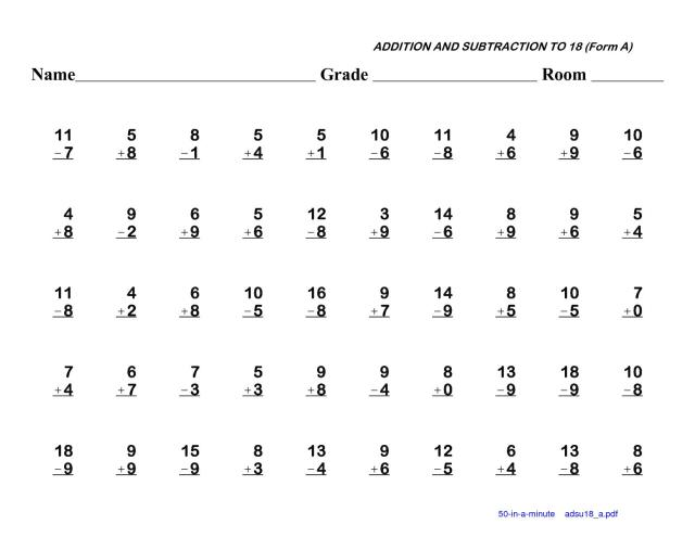 Subtraction Worksheets Kindergarten