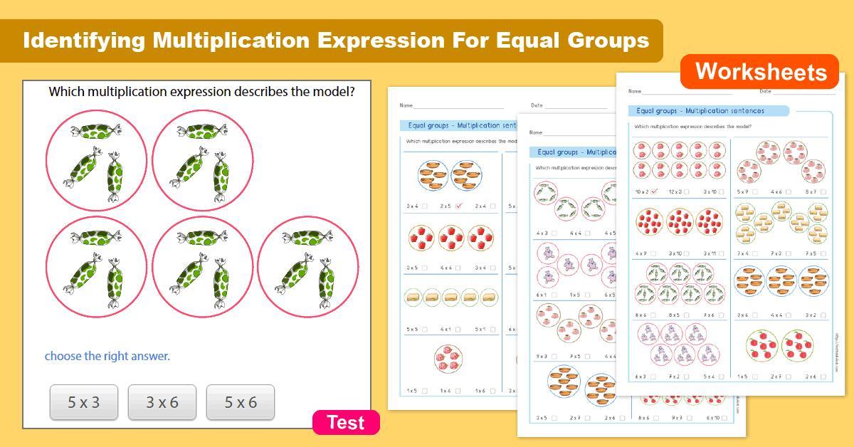 Equal Groups For Multiplication Worksheets