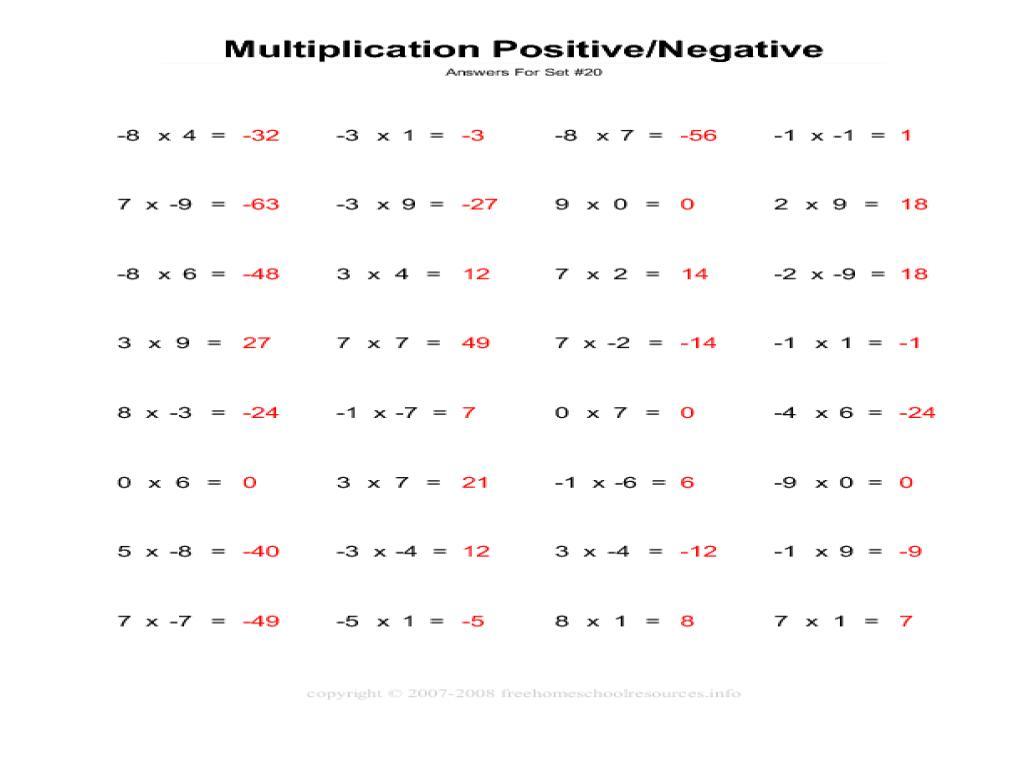 Multiplication Integers Worksheet Word Problems