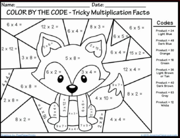 Multiplication Worksheets Coloring Pdf