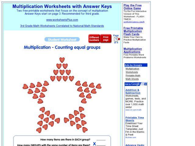Multiplication Worksheets Equal Groups 1