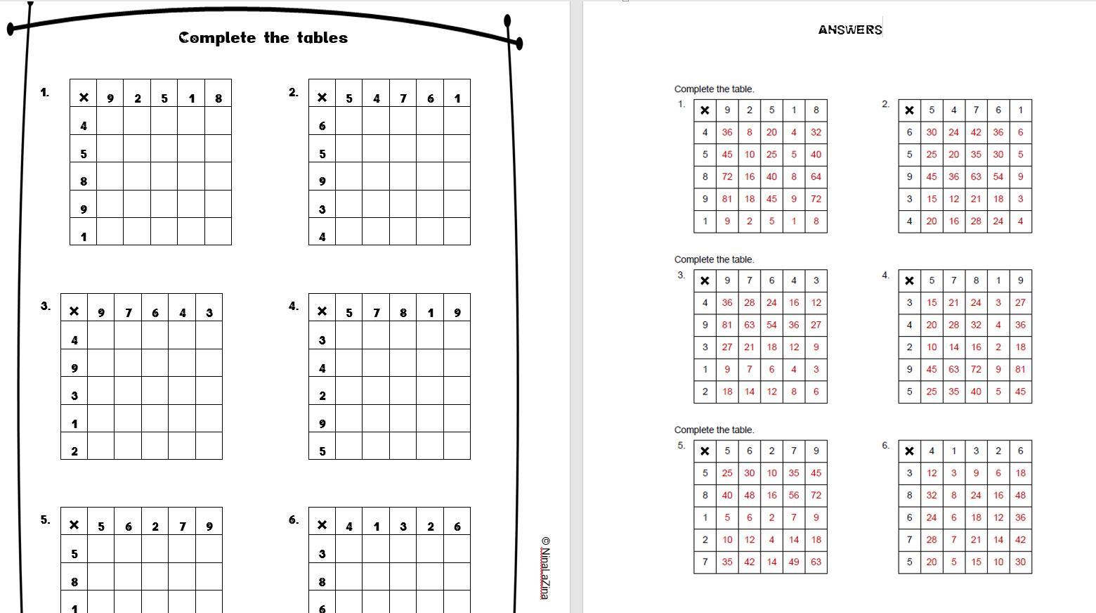 Multiplication Worksheets Free Grade 4