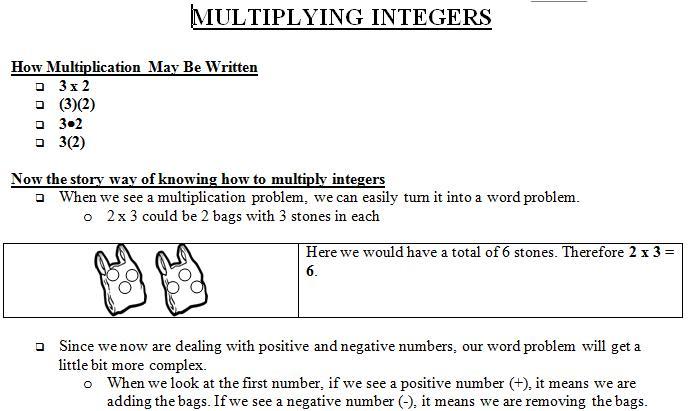 Multiplying Integers Worksheet