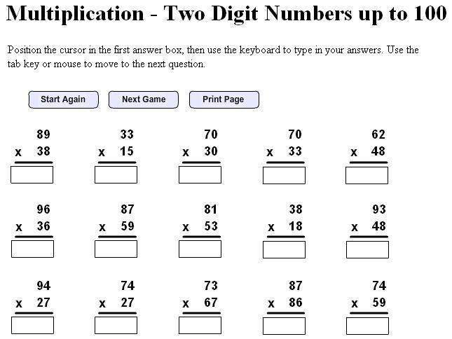 2 Digit Multiplication Worksheets Printable Grade 5