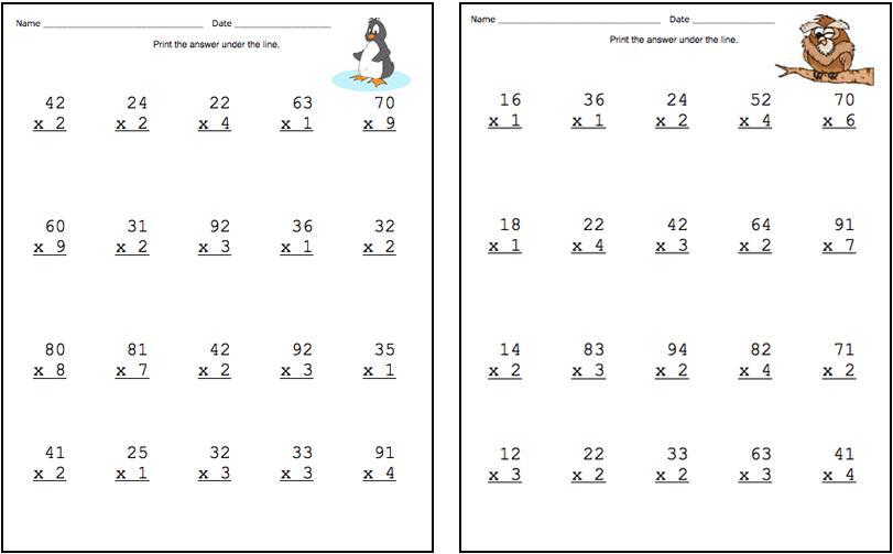 2 Digit X 1 Digit Multiplication Worksheets No Regrouping