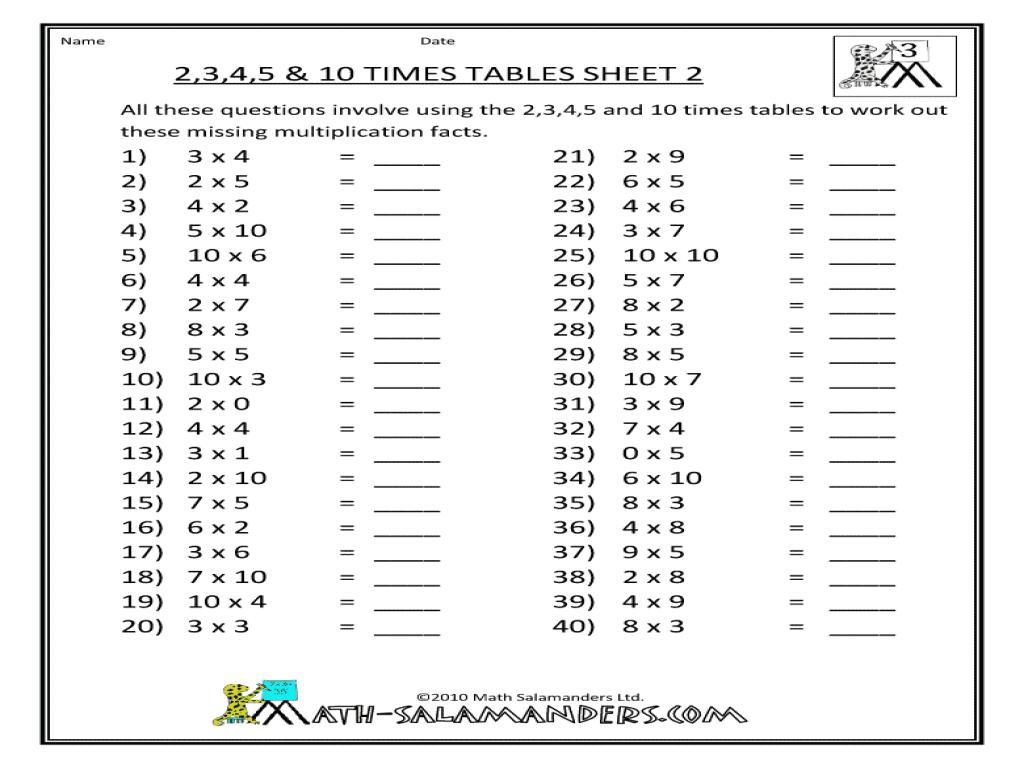Math Worksheets For Grade 5 Multiplication Printable