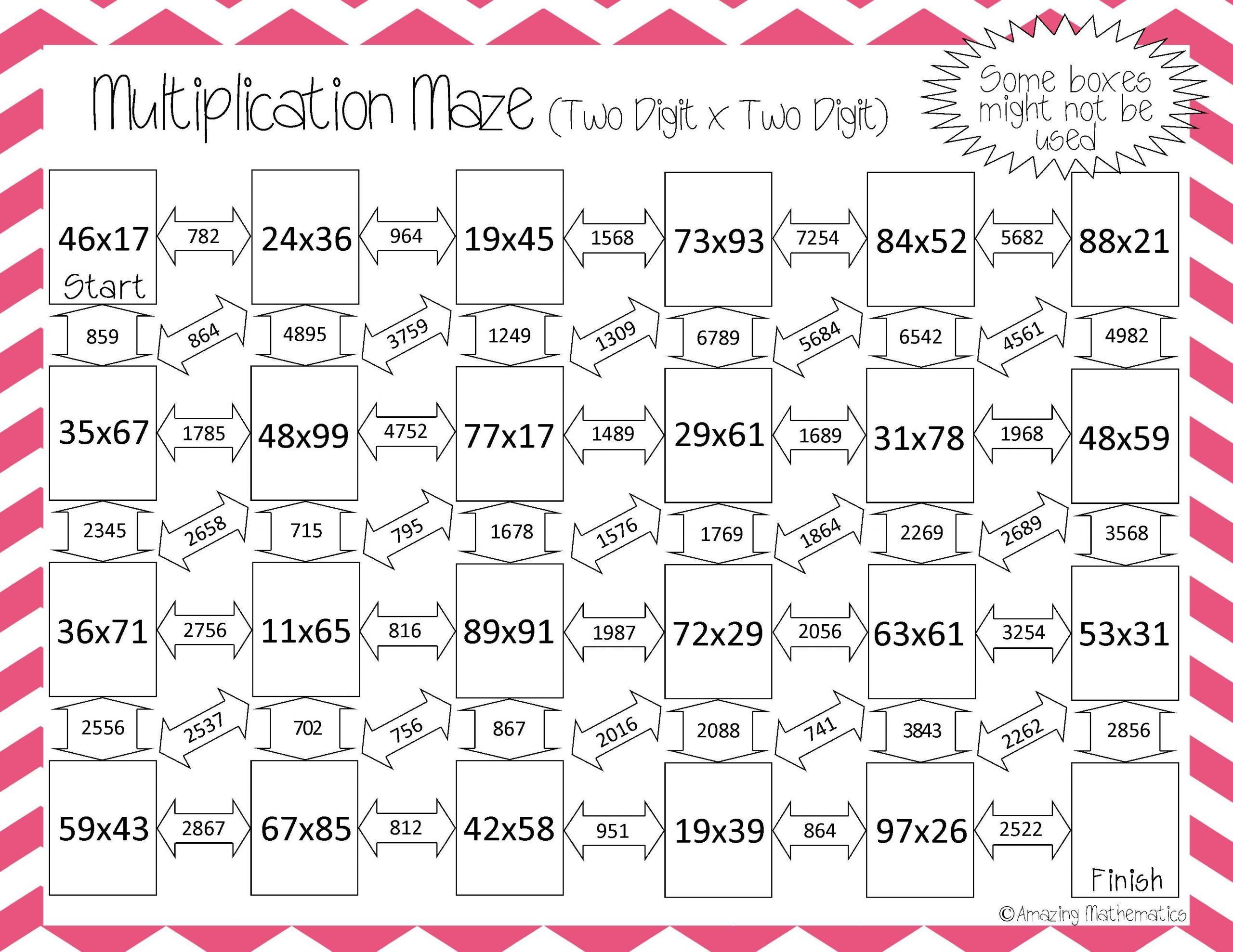 Multi Digit Multiplication Worksheets 5th Grade