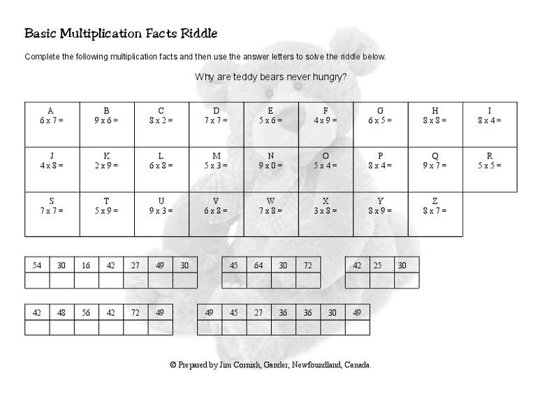 Multiplication And Division Riddle Worksheets