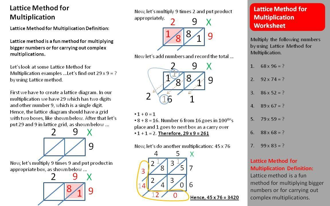 Multiplication Lattice Worksheets 1