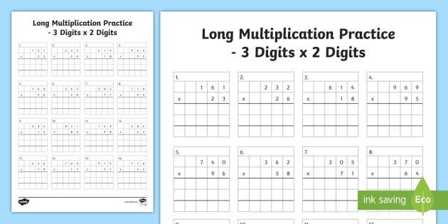 Multiplication Practice Worksheets 4th Grade