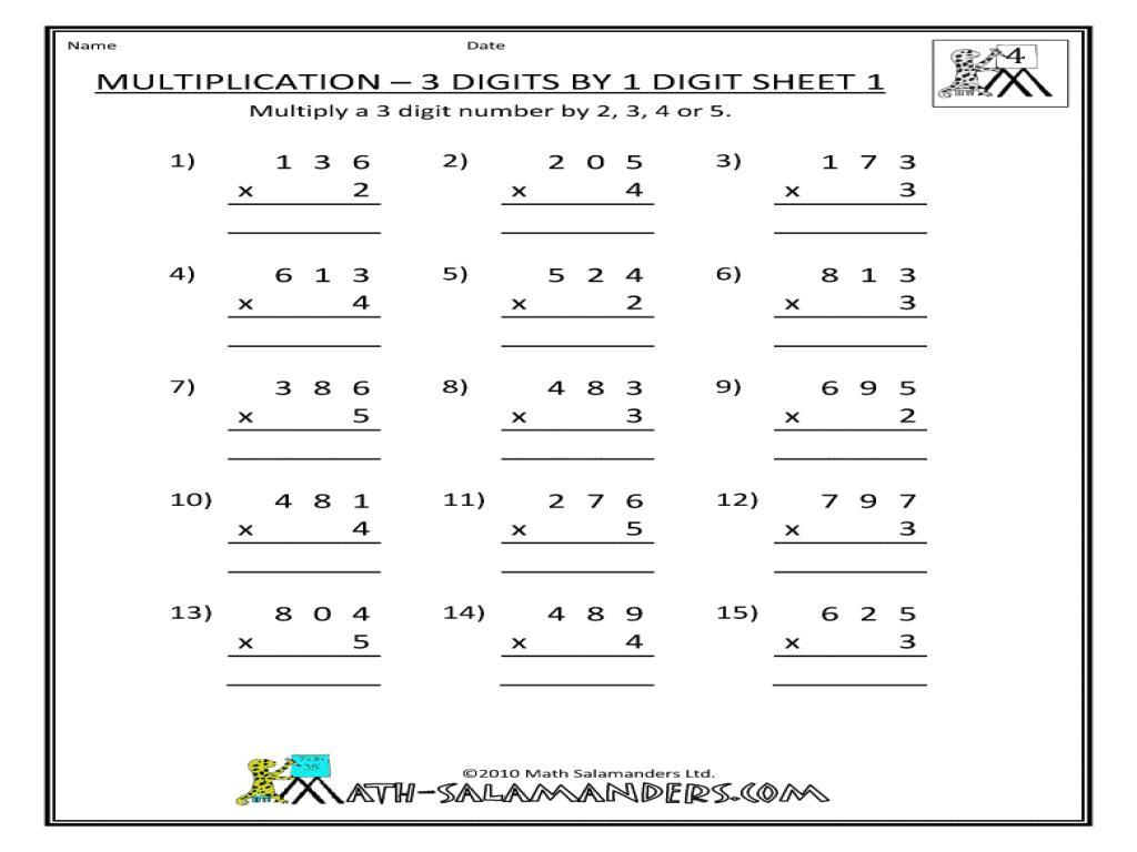 Multiplication Worksheets 3 Digit By 2 Digit