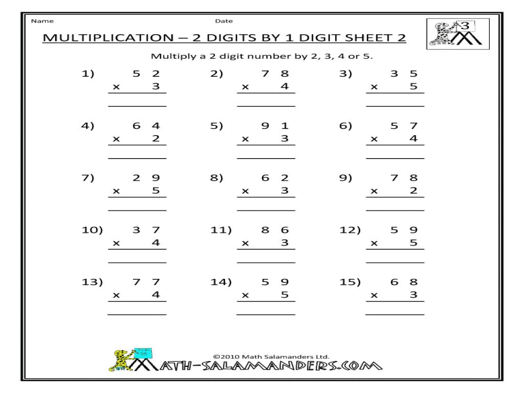 Multiplication Worksheets Grade 4 2 Digits