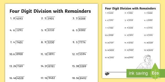 Multiplication Worksheets Remainders 7