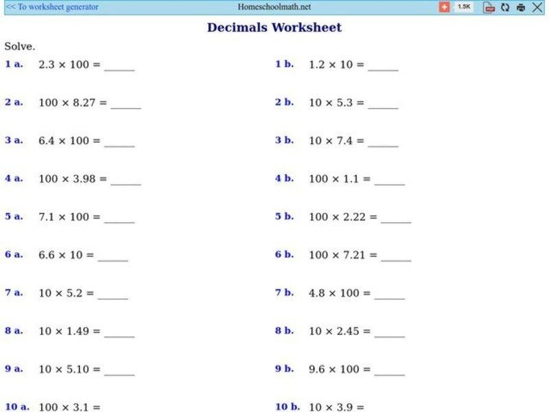 Multiplication And Division Worksheets With Decimals
