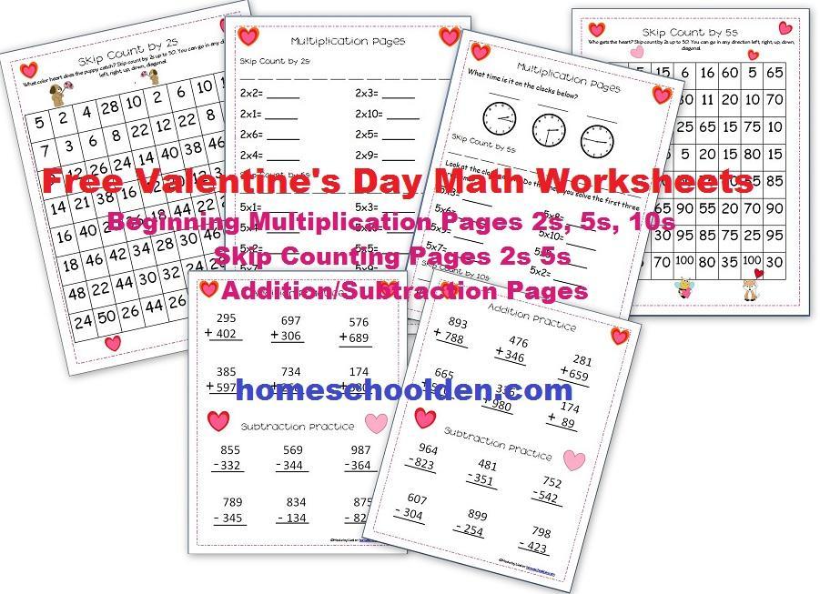 Multiplication Coloring Worksheets Valentine's 2