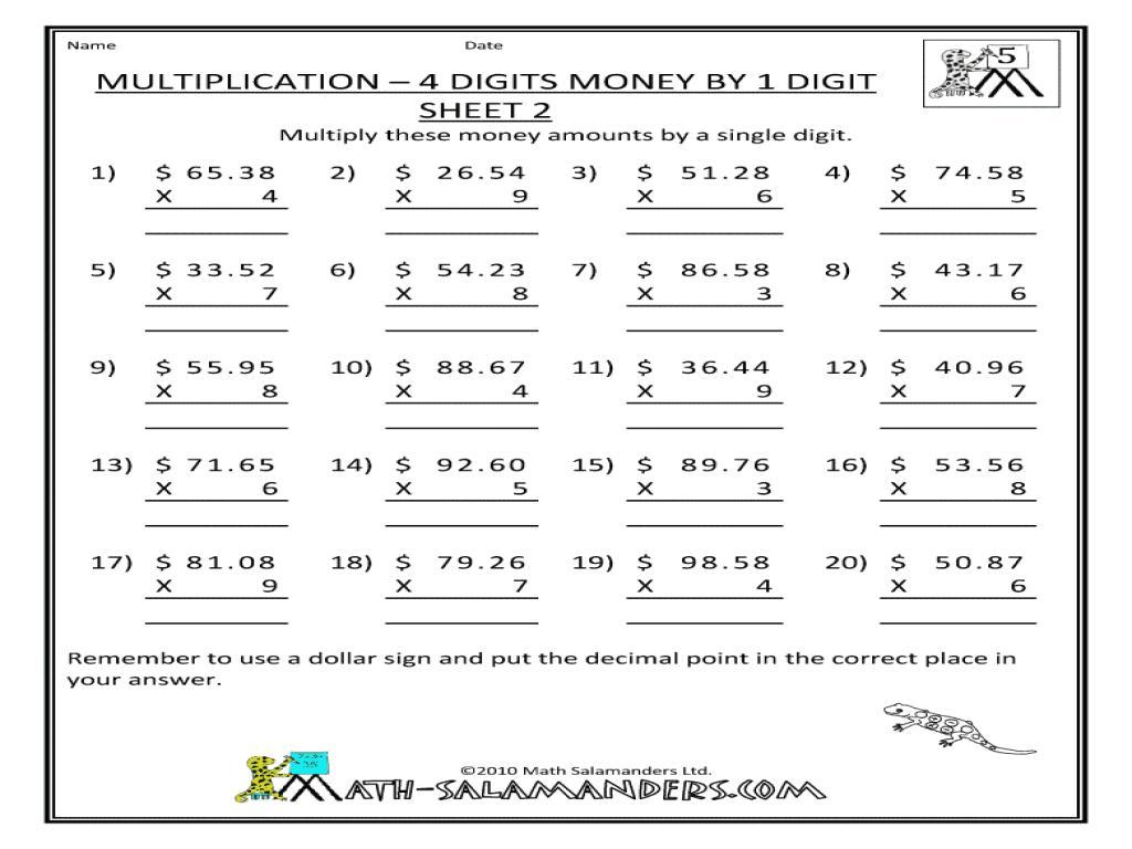 Multiplication Vertical Worksheets Answer Key 2