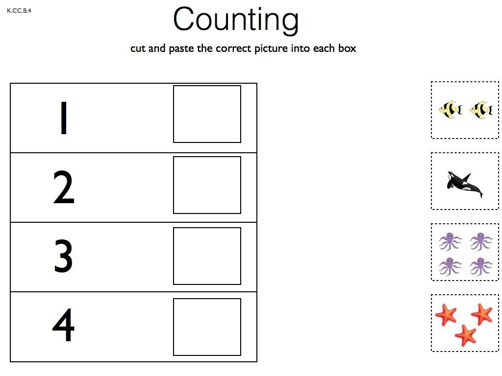 Preschool Counting Cut And Paste Worksheets