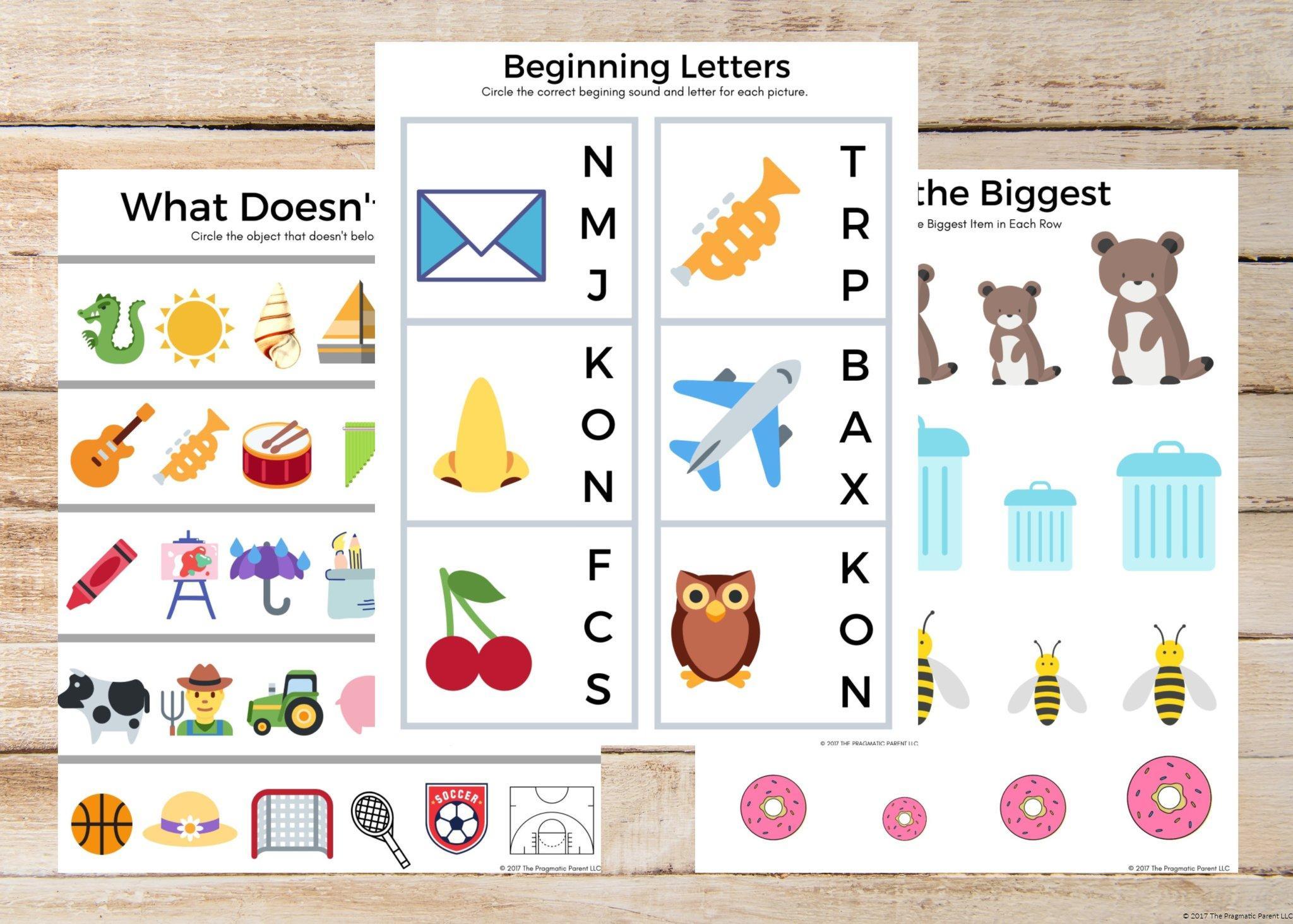 Preschool Worksheets Bundle 6