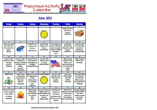 June Preschool Worksheets 4