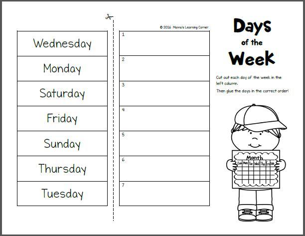 Preschool Worksheets Days Of The Week 1