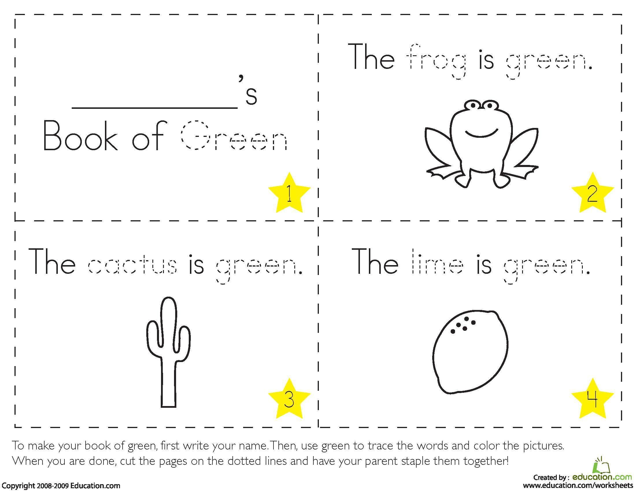 Preschool Worksheets About Colors