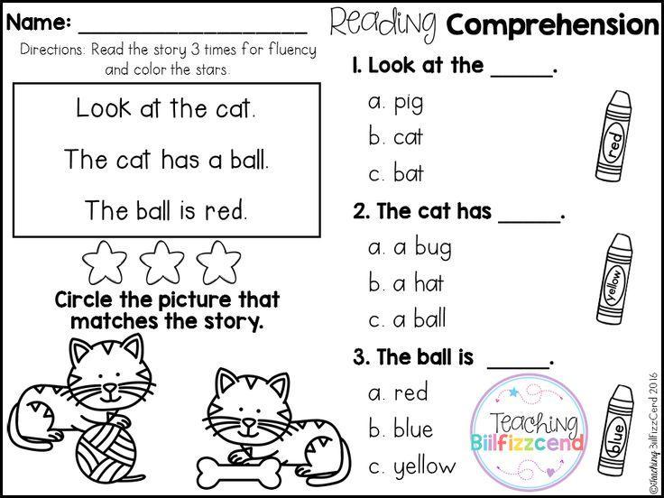 Preschool Worksheets Reading Comprehension