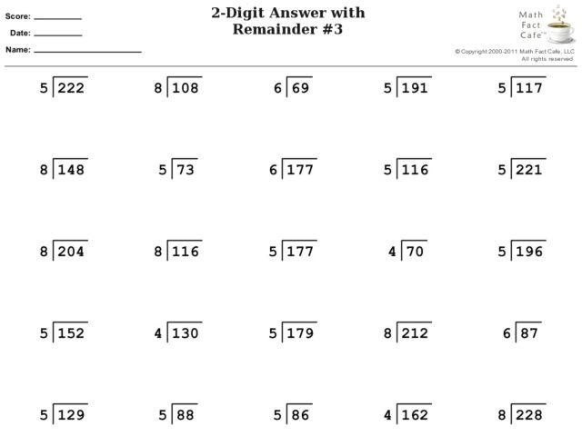 Math Worksheets Division With Remainders 1