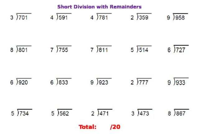 Math Worksheets Division With Remainders 10