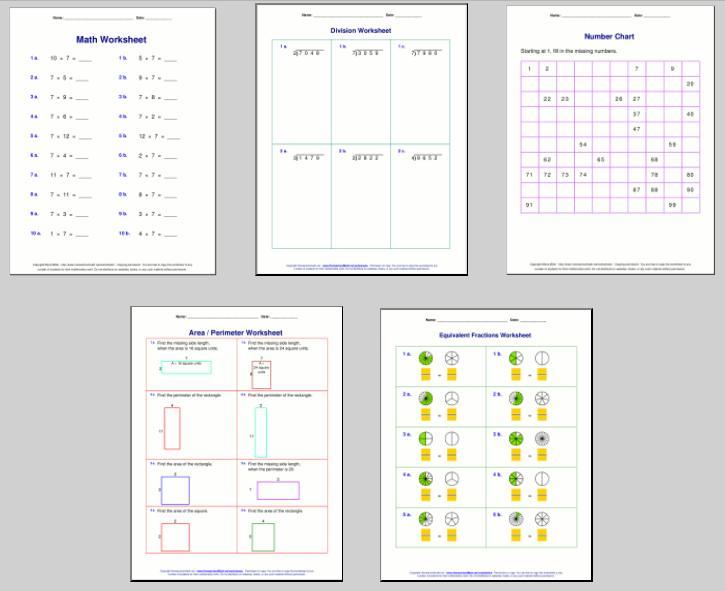 Math Worksheets Elementary 6