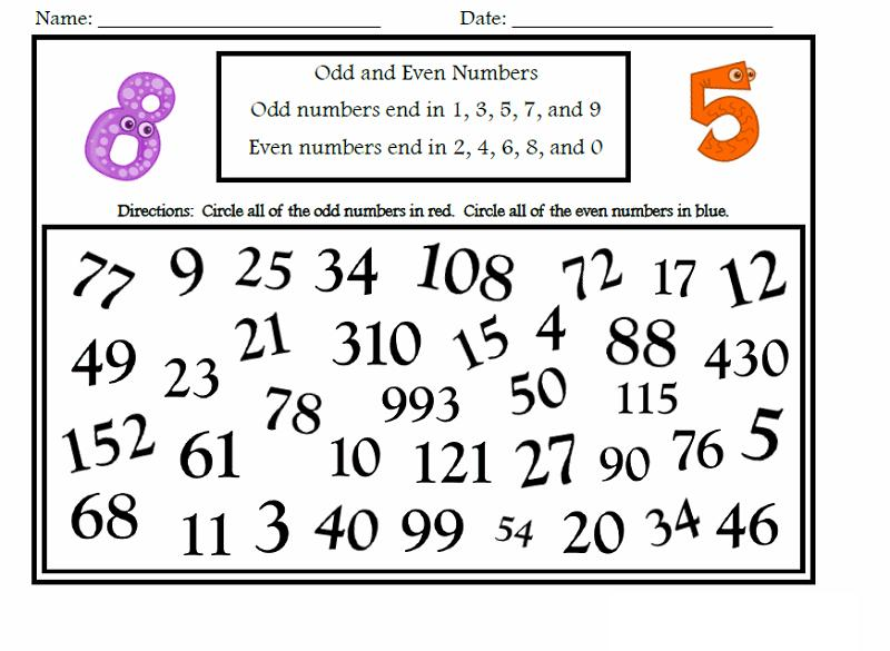 Math Worksheets Even And Odd Numbers 1