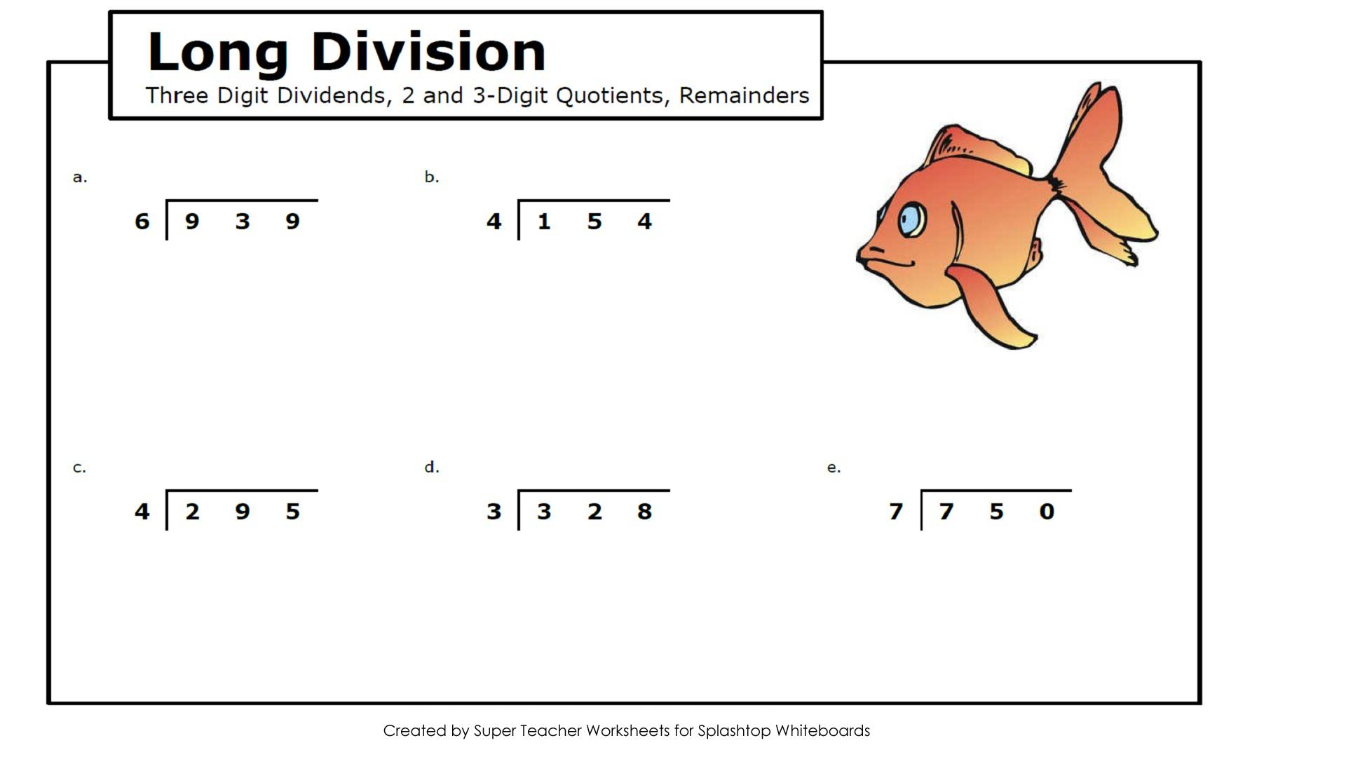 Math Worksheets Long Division 4th Grade