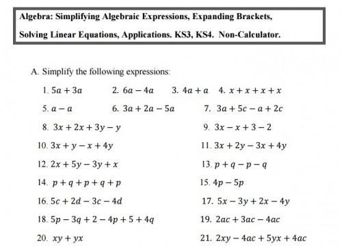 Maths Worksheets Ks3 Year 7
