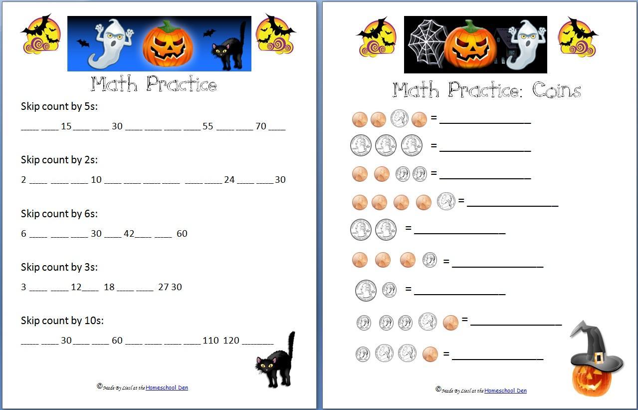 Printable Halloween Math Worksheets For 1st Grade