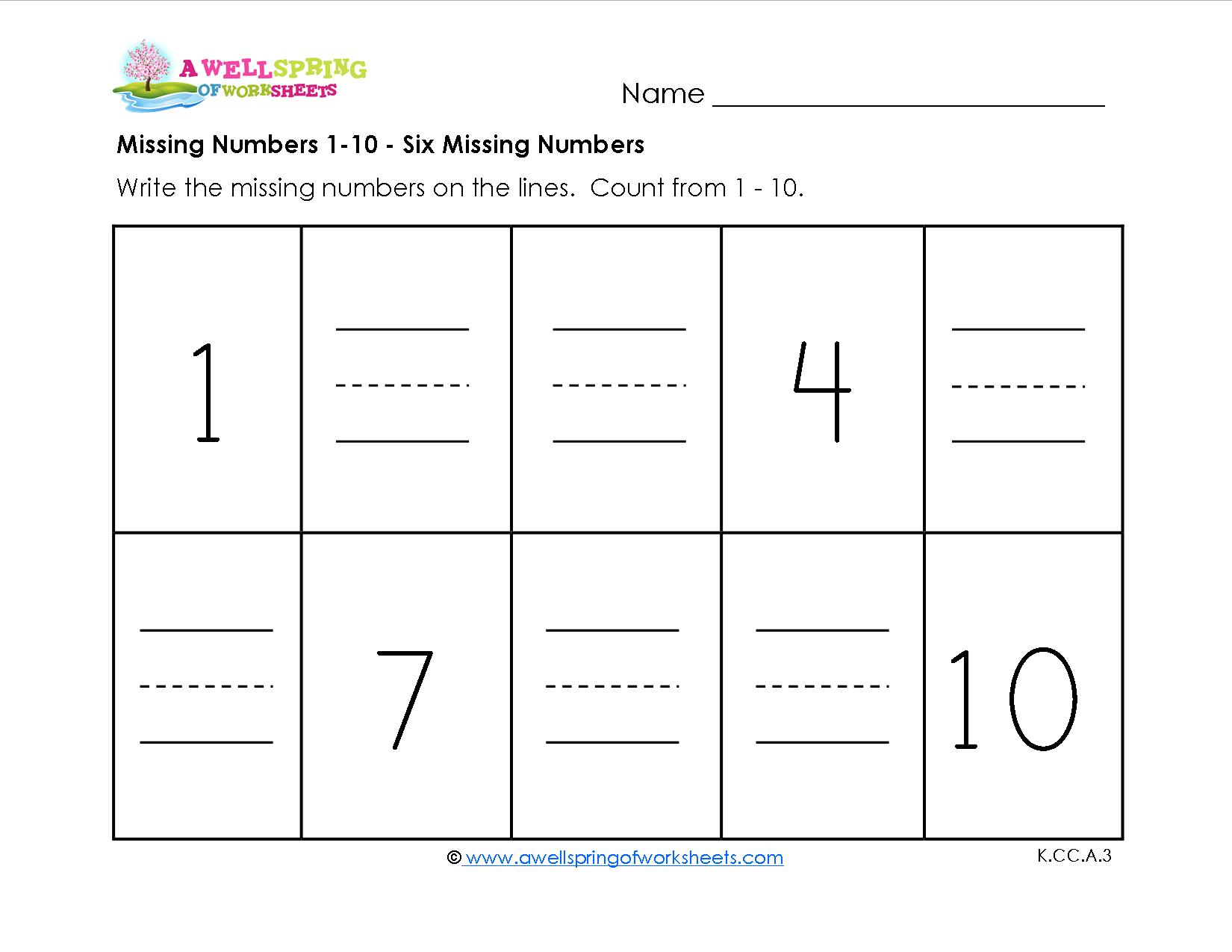 Free Math Worksheets Numbers 1-10